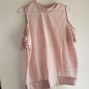 Light Rose Pink- •F21•   Cold-Shoulder Sweater Top